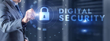 Digital Cyber security. Data protection, information safety and encryption. Foto de archivo - 152310708
