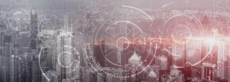Business technology concept. Cogwheel Gears Mechanism with modern city view. Website panoramic header background. Foto de archivo - 152310723