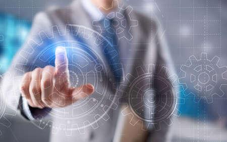 Businessman hand draws gear to success concept. 3D Gear Virtual Screen. Foto de archivo - 152236557