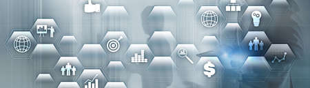 Business finance concept. Application icons ERP Enterprise resources plananing. Stock Photo