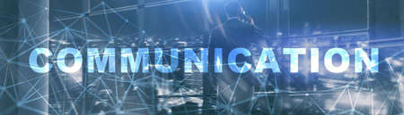 Communication Panoramic Banner. Web and silhouettes background. Stock Photo