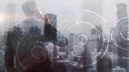 Teamwork Gears of business concept 2021. Foto de archivo - 152310803