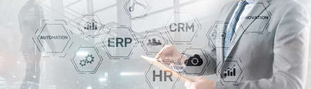 Erp Crm Hr Innovation inscriptions and icons on business background. Foto de archivo - 152380976