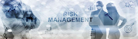 Inscription - Risk Management on abstract double exposure business mixed media background.