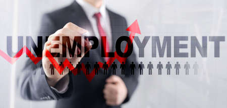 Rising unemployment. Red arrow up. 2020 financial crisis concept.