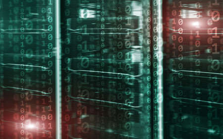 Binary code matrix digital internet technology concept on server room background. Stock Photo