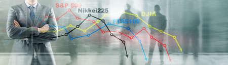 World stock market index concept. Financial crisis 2020.
