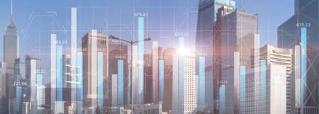 Financial graph diagram trading investment business intelligence concept website panoramic header double exposure modern city view.