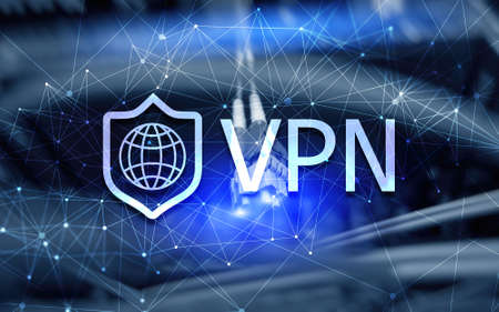 Virtual private network VPN. Blue New technology concept 2020. Stock Photo