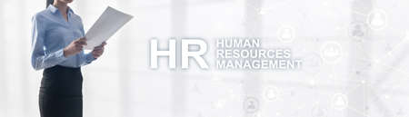 Human resource management. Horizontal mixed media background.