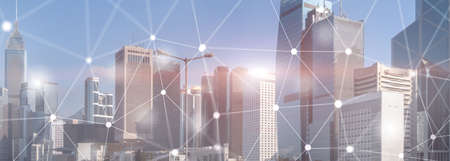 Networking fast wireless internet concept iot network telecommunication 5g website header double exposure city skyline view Foto de archivo
