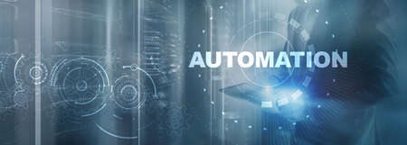 Business Process Automation. Gears on server background. Technology concept 2021.