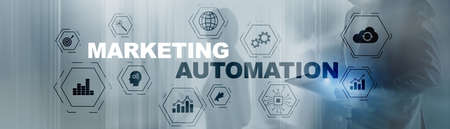 Business Marketing automation concept. Technology Process System Finance on banner. Foto de archivo