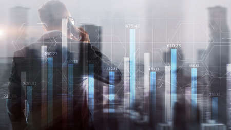 Market chart with people silhouettes. Trading investment business intelligence concept. Standard-Bild - 154850437