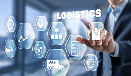 Logistic network distribution concept 2021. Smart technology.