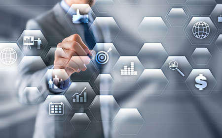 Data Management System and Business Analytics concept on double exposure background. Standard-Bild - 154850471