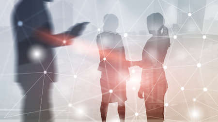 Global network link connection. Silhouettes people on modern city background. Standard-Bild - 154850469