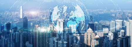Globe Global business technology concept of modern city background. Website header.