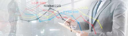World stock market index concept. Financial crisis 2020. Stock Photo