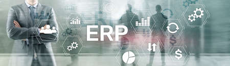 Online ERP system concept on abstract business mixed media background.