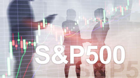 People silhouettes on American stock market index S P 500 - SPX. Standard-Bild - 154850475