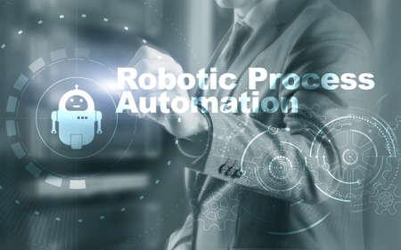 RPA Robotic Process Automation. Ai algorithm analyze Business.
