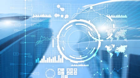 Financial dashboard with business intelligence BI. Blurred megapolis. Standard-Bild - 154850628