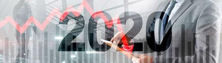 The economic crisis of 2020. Red arrows fall down. Standard-Bild - 154850630