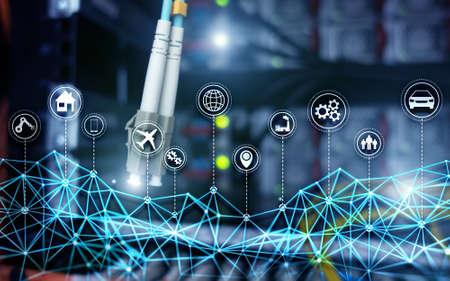 IOT internet of things digital technology concept. Server room background. Standard-Bild - 154850641