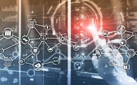Server room IOT communication Smart industry internet of things concept. Digital technology. Standard-Bild - 154850643