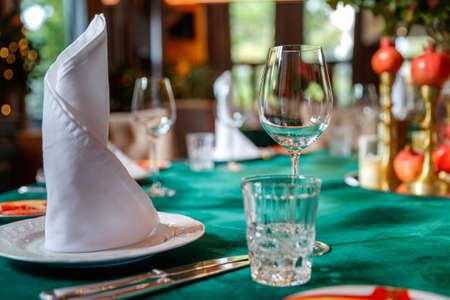 Restaurants table prepared for celebrating event 2021.