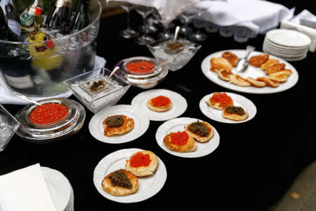 snacks in the restaurant. Expensive restaurant 2021 Standard-Bild - 154916034