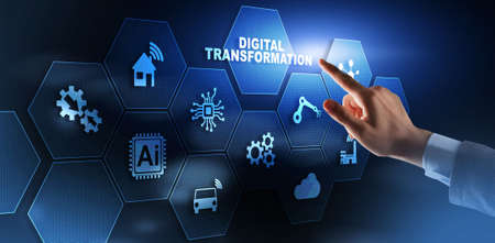 Digital Transformation and Digitalization Technology concept on Abstract Background. Standard-Bild - 155161833