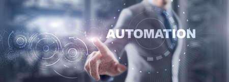 Business Process Automation. Gears on server background. Technology concept 2021. Standard-Bild - 155161724