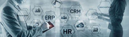 Erp Crm Hr Innovation inscriptions and icons on business background. Standard-Bild - 155161425