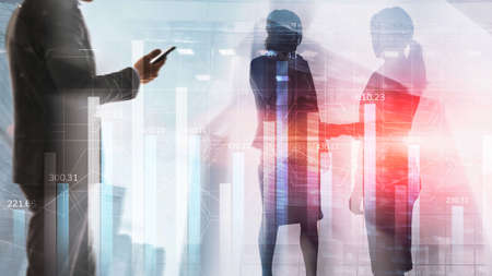 Market chart with people silhouettes. Trading investment business intelligence concept. Standard-Bild - 155350524