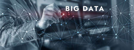 Big Data on Virtual Screen. Technology Internet business and marketing.