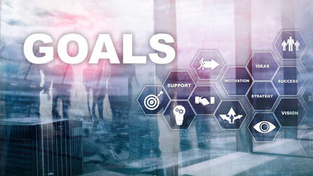 Target Goals Expectations Achievement Graphic Concept. Business development to success and growing growth. Standard-Bild