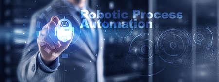 RPA Robotic Process Automation. Technology concept on virtual screen. Ai algorithm analyze Business.