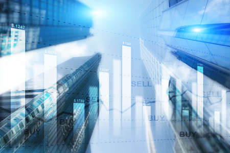 Double Exposure of Stocks Market Chart and Hong Kong city. Sell and By Concept.