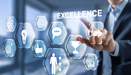 Achieve Business Excellence as concept. Technology Abstract Background.