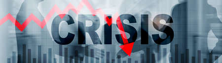 Crisis and red arrow down on abstract website banner. Standard-Bild