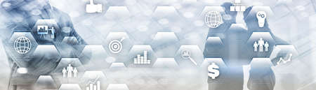 Business finance concept. Application icons ERP Enterprise resources plananing. Standard-Bild