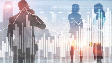 Stock chart on an abstract background of silhouettes of the city.