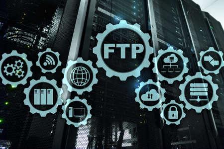 FTP. File Transfer Protocol. Network Transfer data to server on supercomputer background. Standard-Bild