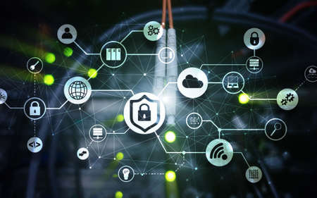 Data security concept. Icons: Closed Padlock, Wifi And cloud on digital background.