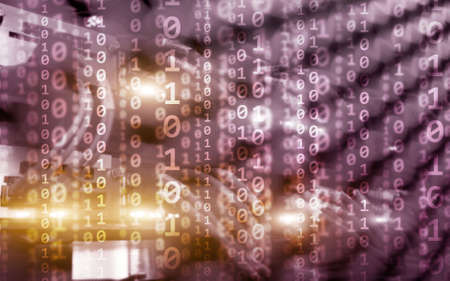 Binary code matrix digital internet technology concept on server room background. Standard-Bild
