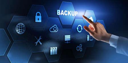 Backup Data Internet Technology Business concept On Virtual Screen.