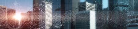Cogs and gear wheel mechanisms. Hi-tech. Abstract Business and Technology background. Modern night city. Standard-Bild