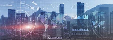 Business intelligence control interface marketing finance management city skyline view website panoramic heade banner.